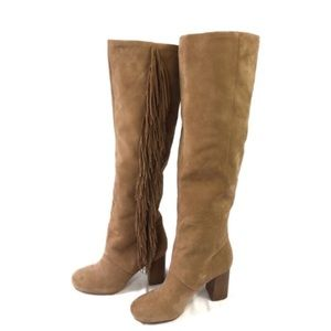 dd301535b Sam Edelman Tan Suede Fringed Over Knee Boots